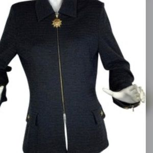 St. John collection wool jacket with medallion zip